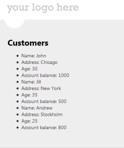 List of customers