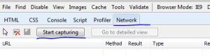 Select Network in developer tools