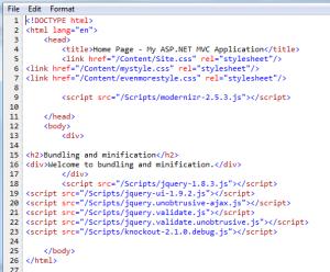 HTML source with debug mode