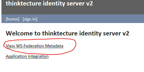 Link to Federation Metadata in Thinktecture STS