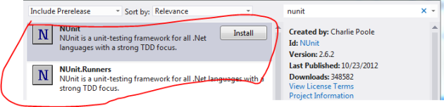 NUnit projects in NuGet