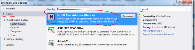 NUnit test adapter in Visual Studio