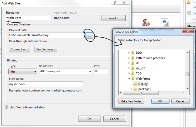 Add application IIS