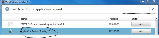 ARR in web platform installer