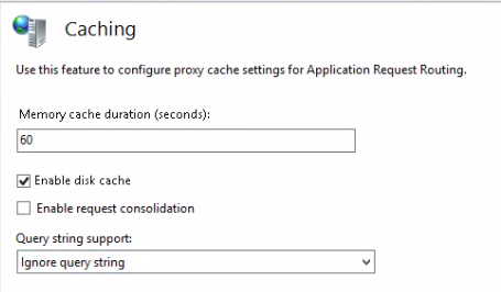 Caching options window ARR