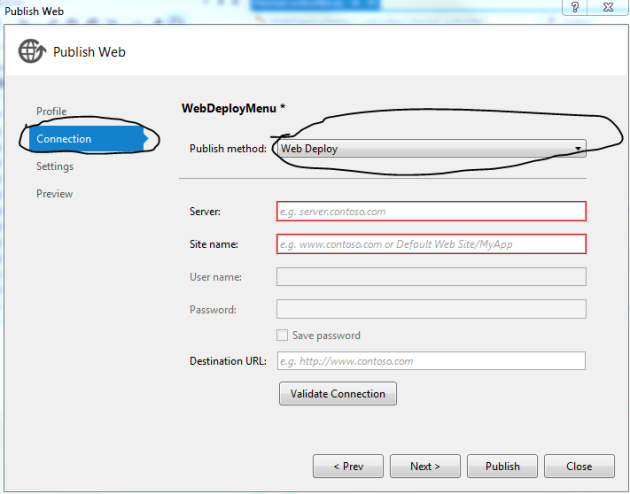 Deployment method option selector