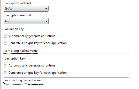 Machine key filled out in IIS