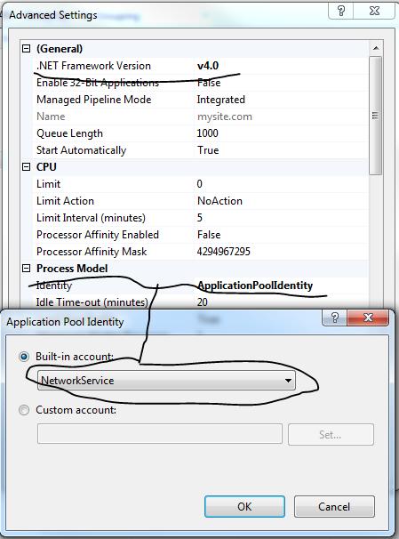 Modify application pool in IIS