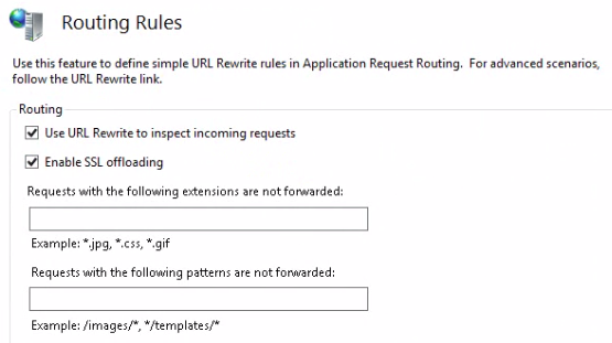 Set routing rules ARR