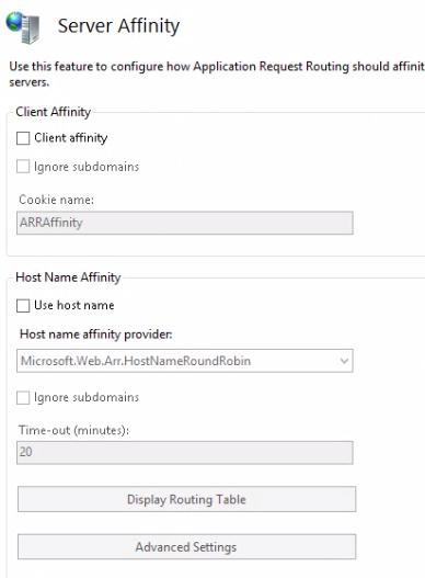 Server affinity window in ARR