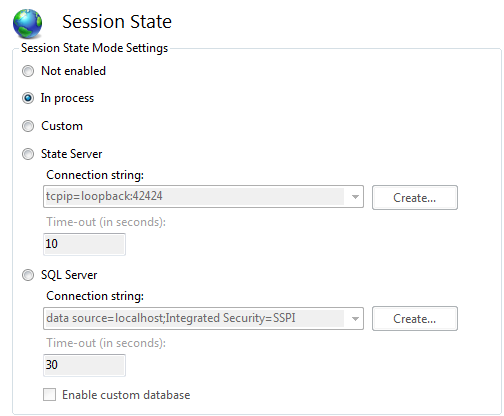 Session state options in IIS