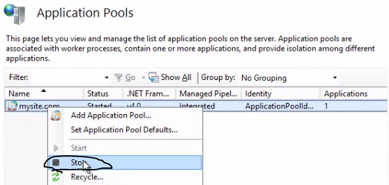Stop application pool ARR web farm