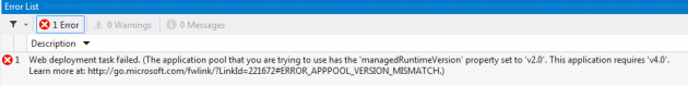 Web deployment failed due to wrong runtime version