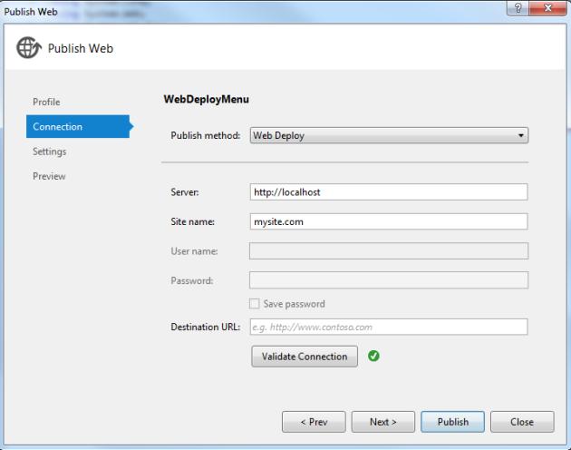Web deploy options