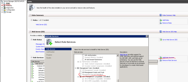 Add management service to IIS