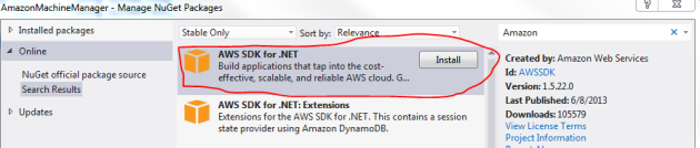 Amazon SDK package in NuGet