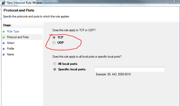 Inbound rule type tcp or udp