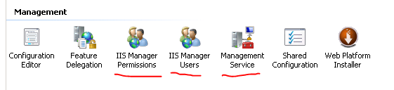 Management service icons in IIS