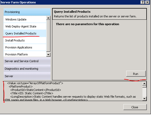 Query installed products operations result