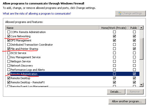 Select 3 options in allow programs through firewall window