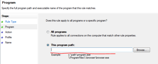 Specify Executable For Firewall Inbound Rule