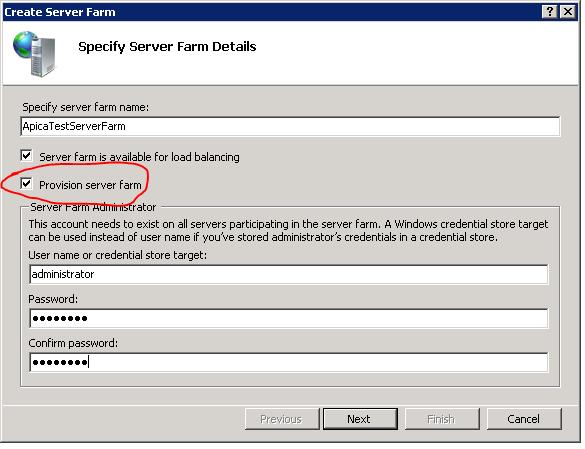 Specify server farm details
