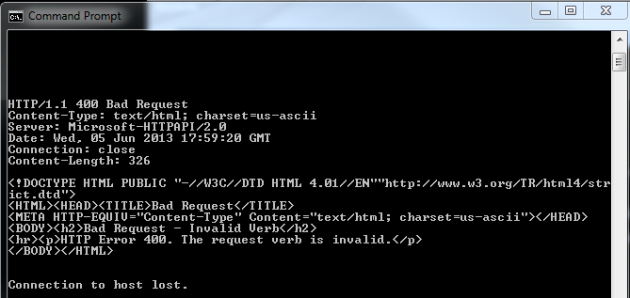 Telnet HTTP bad request