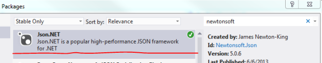 Newtonsoft Json.NET in NuGet