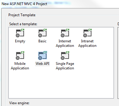 Web API in project template