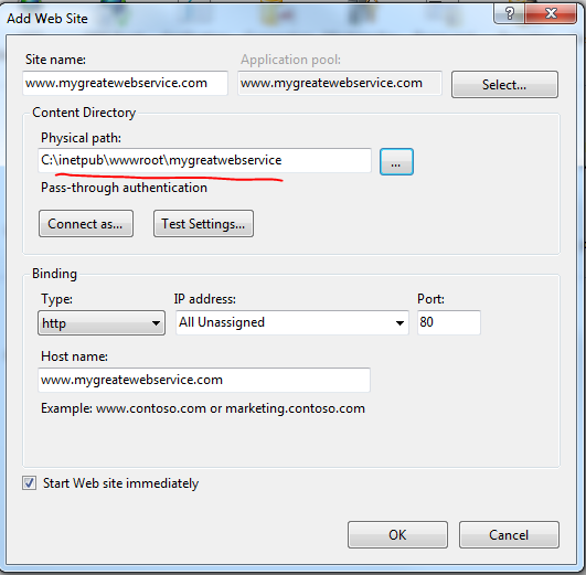Setting up web site in IIS
