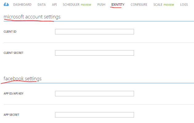 OAuth signup page on Azure Mobile Services