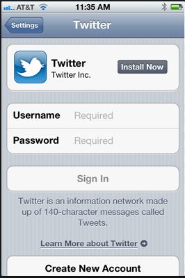Twitter login iOs
