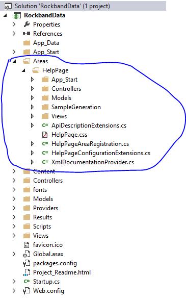 Web API 2 Help Page area