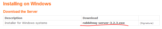 Windows RabbitMQ installer package