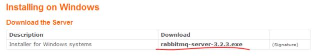Windows RabbitMQ installer package