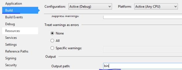 Change output path to bin