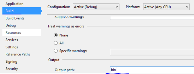 Change output path to bin