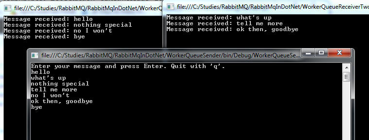 Messaging with RabbitMQ and  NET C# part 3: message exchange