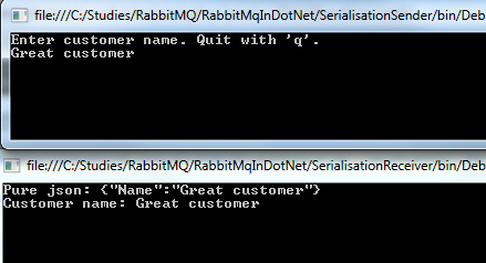 Serialised message output