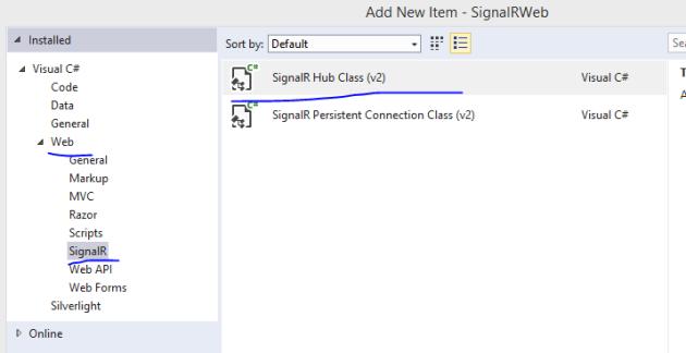 SignalR hub class template