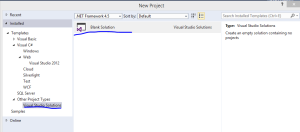 Insert new blank solution in Visual Studio