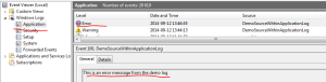 Error message in application log