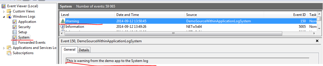 Writing to the Windows Event Log with C#  NET   Exercises in  NET