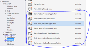 Node.js templates in Visual Studio