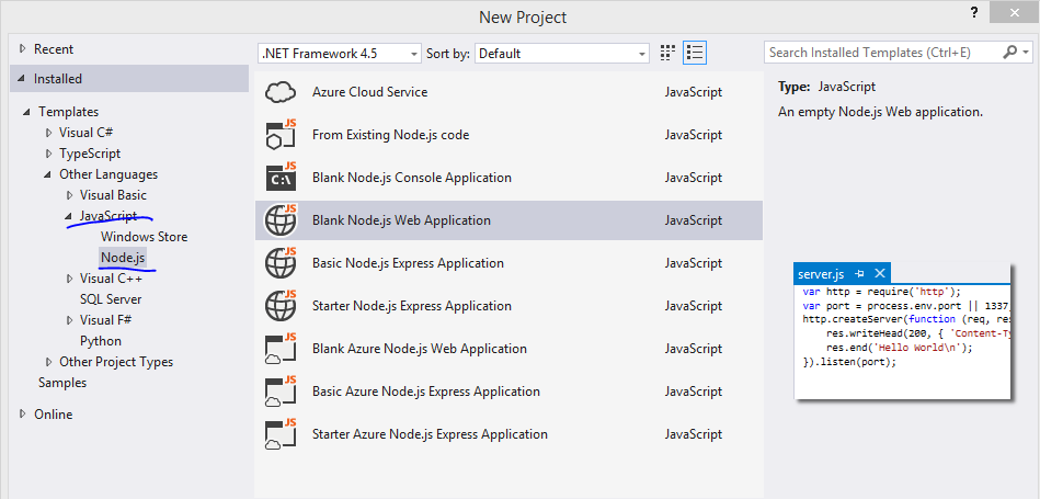 Building a web service with Node js in Visual Studio Part 4: Node js