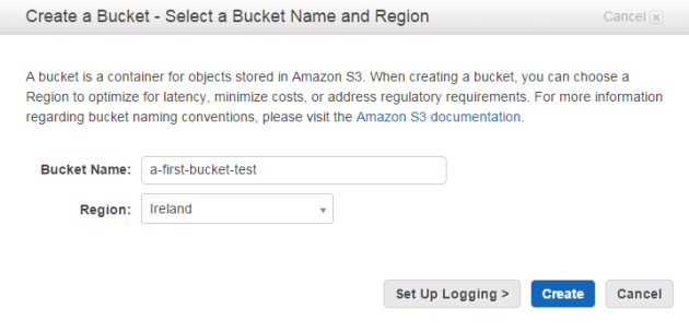 Creating first bucket Amazon S3