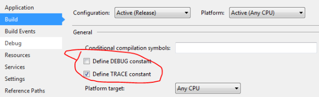 Debug and trace constants are predefined