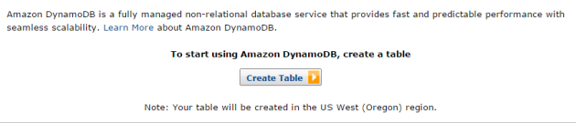 DynamoDb create first table UI