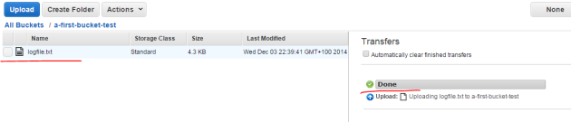 Text file uploaded to bucket in Amazon S3