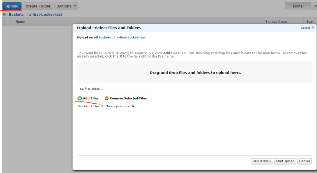 Upload a file in Amazon S3